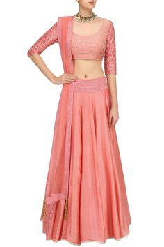 Coral sequins embroidered lehenga skirt set available only at Pernia's Pop Up Shop.