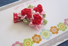 Baby Hair Clip  Delicate Red Rose Hair Clips  Girl by yaeldesigns1, $5.00