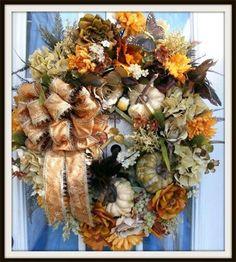 Wreaths: Decorative Door Wreaths, Luxury Christmas Wreaths - Luxury Fall Wreaths - Maplesville, AL Christmas Mesh Wreaths, Autumn Wreaths, Door Wreaths, Wreath Fall, Wreath Crafts, Diy Wreath, Wreath Ideas, Petal Pushers, Fall Door Decorations