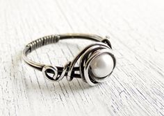 Antiqued Pearl Sterling Silver Ring
