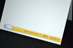 A cute teacher gift!   Personalized Stationary / Note Cards - A note from the teacher