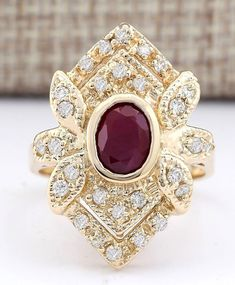 Catawiki online auction house: 1.75 Carat Ruby And Diamond Ring In 14K Solid Yellow Gold - Ring Size: 7 - no reserve -