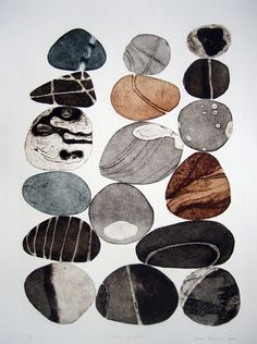 Tessa Horrocks - London Printmaking Artist, Pebbles are Great (colour series collagraph Art And Illustration, Illustrations, Painting & Drawing, Watercolor Paintings, Encaustic Painting, Watercolor Artists, Painting Lessons, Oil Paintings, Guache