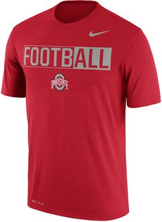 """Be ready for the season with this Nike NCAA men's Legend Football T-shirt. This bold shirt displays your Ohio State Buckeyes pride with the word """"football"""" and your team's logo in school colors. Crew neck Short sleeves Screen print team graphic at front Screen print brand logo at top left Regular fit Tagless Polyester Machine washable"""