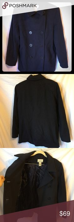 "L.L. Bean Classic Lambs Wool Pea Coat Navy Size 12 Super soft Navy blue pea coat.  Extra buttons sewn inside. 80% Wool, 20% nylon. 32"" length, 20"" across bust, 25.5"" sleeve.  Fully lined.  This was only worn once.  A bit wrinkled from being stored. Will be like new with a pressing. Excellent condition! L.L. Bean Jackets & Coats Pea Coats"