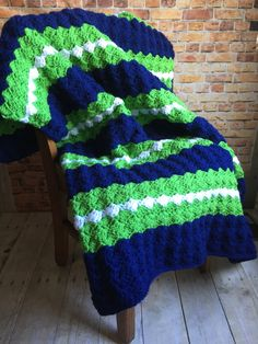 """Seattle Seahawks Colors Inspired Handmade Crocheted Afghan Blue Green White 54"""" x 40"""" Football Stadium Game Day Blanket Throw GO HAWKS! by kitchenklutter on Etsy"""
