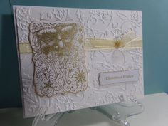 Embossed Gold Santa Christmas Card by TheCraftieOne on Etsy