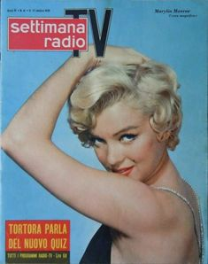 Marilyn Monroe on the cover of Settimana Radio TV magazine, October 17, 1959, Italy. Photo by Philippe Halsman, 1954.
