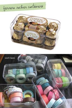 Use Ferrero Roche containers to organize <3