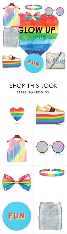 """""""At the end of the rainbow"""" by natasha-mcinnes ❤ liked on Polyvore featuring Gucci, Sunday Somewhere, claire's, Forever 21, Lisa Perry and Boohoo"""