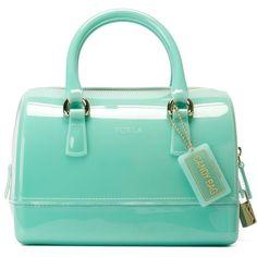 Furla Small Candy Bag (680 ILS) ❤ liked on Polyvore featuring bags, handbags, blue, blue bag, furla, furla bags, green bags and green handbag