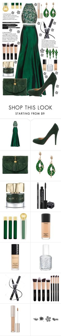 """Untitled #85"" by shibhazakura ❤ liked on Polyvore featuring Jovani, Christian Louboutin, Chanel, Gemco, Smith & Cult, Rodial, AMOUAGE, MAC Cosmetics, Gucci and Essie"