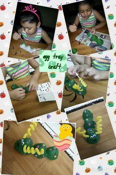 #EggTrayCraft #Caterpillar #Handpainted #PipeCleaners