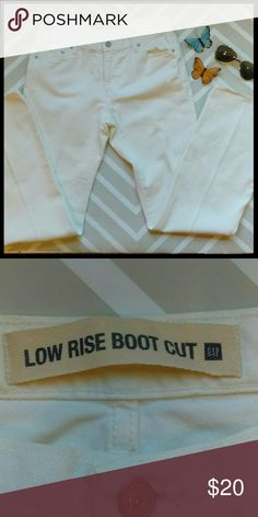 Gap low rise boot cut white jeans These are in perfect condition. The only flaw is they do not have a size label in the jeans. They are a size 9 juniors . From a smoke and pet free home. I ship fast!?  *Bundle and save 10% off 2+ items  *No trades  *All offers considered GAP Jeans Boot Cut