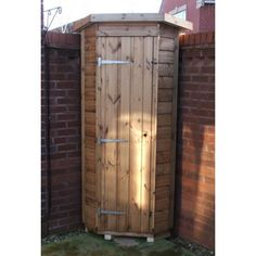 Garden timber Corner Store made from T&G Shiplap cladding. Ideal for small storage spaces. Small Garden Tool Shed, Garden Tool Storage, Small Space Storage, Storage Spaces, Corner Sheds, Shiplap Cladding, Corner Garden, Small Corner, Tool Sheds