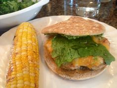 Chipotle Lime Chicken Burger with BBQ Corn on the Cob