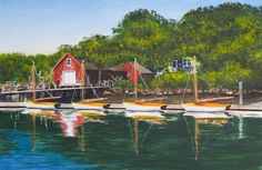 HADLEY HARBOR - Buzzards Bay, Massachusetts. Signed limited edition (50) giclée print of a watercolor painting • Size: 20 X 13 inches $175 #BuzzardsBay #Massachusetts #watercolor #painting
