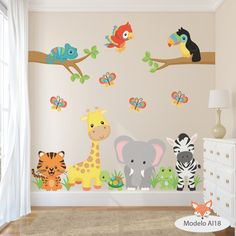 vinilos decorativos infantiles arboles animales aib 11 al 20 Baby Bedroom, Baby Boy Rooms, Kids Bedroom, Boys Room Decor, Playroom Decor, Nursery Wall Decals, Nursery Room, Wall Stickers For Baby Room, Kids Room Wallpaper