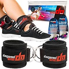 "2 Ankle Straps for Cable Machines by Diagonal One- Padded Ankle Cuffs (10"") with Double D-Rings and Strong Velcro- Ideal leg straps to exercise your booty & glutes- Bonus Silicone No Tie Shoelaces $12.97"