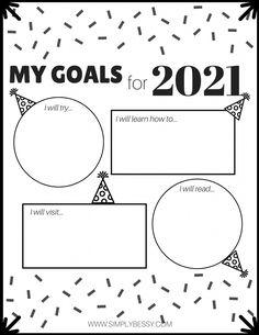 New Year Printables, Goals Printable, Printable Calendar Template, Free Printable Worksheets, Worksheets For Kids, Kindergarten Worksheets, Free Printables, Writing Worksheets, New Years Resolution Kids