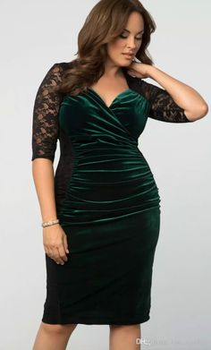 8d1ffe55b92 Elegant Velvet Mother of the Bride Dresses Evening Wear Lace Half Sleeves  Sweetheart Neckline Sheath Formal Mother s Dress Dark Green. Plus Size ...