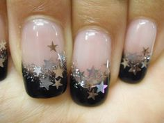 Black with silver star french tips  Confetti Star Nail Art Mix