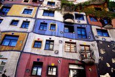 Vienna, Austria  Hundertwasser House  Hundertwasser did not believe in line drawings in his art or architectural design.