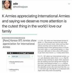 Aww, I'm touched. Let's remeber to not get mad at k-armies or bts for bot getting a lot of attention......... Let's blame bighit.