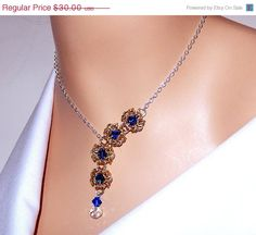 ON SALE 30% OFF Chainmaille necklace, flower necklace, byzantine romanov chainmaille necklace with Swarovski elements, crystal necklace, gif