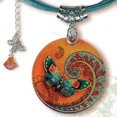 Paisley Butterfly Necklace - BOTANCIALZ Collection by Tzaddishop - Reversible Glass Art Jewelry - Flight of the Butterfly in Orange and Teal. $29.00, via Etsy.