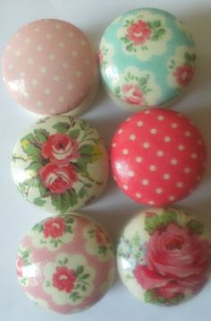 Retro and loverly!    Cath Kidston door Knob handle Classic rose print  by pinkpolkas