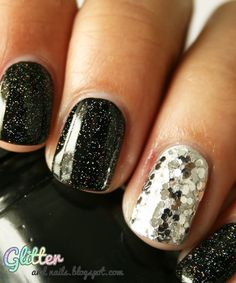 New Years Eve nails, CG Liquid Leather + CG Fairy Dust with Essie No Place Like Chrome + Milani Silver