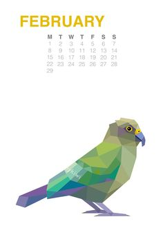 2016 Calendar 2 New Zealand birds Geometric by tinykiwiPrints