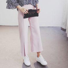 2016 весна лето новый розовый широкую ногу женщина черный широкий пят леди сплошной свободного покроя брюки купить на AliExpress