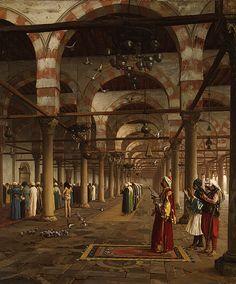 """Jean-Léon Gérôme (1824-1904) -Prayer in the Mosque. Oil on Canvas. Circa 1871. 35"""" x 29-1/2"""". Metropolitan Museum of Art, New York."""
