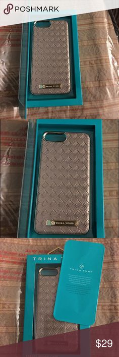 Trina Turk IPhone Basket Weave Case iPhone Plus New in the Box Trina Turk iPhone Case for the 5.5' model, Tan Color Trimmed in Gold tone with Trina Turk GoldTone Plate Logo, NWTB.🤗💕 For iPhone 7 Plus. Trina Turk Accessories Phone Cases