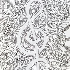 A Musical Page From Color Me Happy Part Of The Zen Coloring Book Range By Art Therapist Lacy Mucklow Davlin Publishing