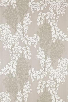 """Wisteria is a classic english floral pattern drawn from 19th century pure silk woven jacquards. With its abundant, trailing design of blossoming Wisteria, this wallpaper captures the warmth of English romance and creates a flourishing, exciting design. Full roll width is 53cm/21"""", roll length is 10m, pattern repeat is 54cm/21 1/4"""", Available in 10 colourways."""