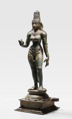 A Copper Alloy Figure Of Parvati. 24 ¾ in. (via Bonhams) Ancient Indian Art, Ancient Art, Bronze Sculpture, Sculpture Art, Tantra Art, Saraswati Goddess, Hindu Statues, Southeast Asian Arts, Shiva Statue