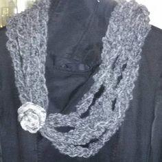 Sciarpa scaldacollo collana donna handmade scarf regalo grigio lana 100%