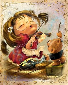Petite Violin - Cris de Lara is well known as pinup artist, illustrator and digital painter with a very unique style and talent for pinup art, portraits, caricatures, and illustrations in traditional and digital way. Cris lives in Niagara, Canada.
