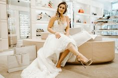 Jimmy Choo wedding shoes + Ines Di Santo lace wedding dress = perfect wedding look!   Ines Di Santo lace wedding dresses from Solutions Bridal in Orlando, FL.