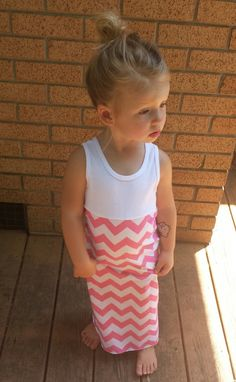 Chevron maxi dress infant toddler gray long by TheKnotProject -- love these baby maxis!