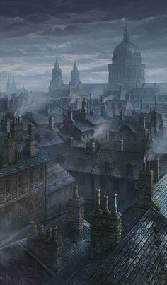 The Misty Night of London Fantasy City, Fantasy Places, Fantasy World, Fantasy Concept Art, Dark Fantasy Art, Dark Art, Misty Night, Steampunk City, Victorian London