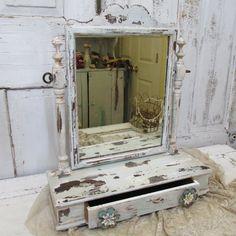 Shabby chic dresser top swivel mirror vanity by AnitaSperoDesign, $170.00