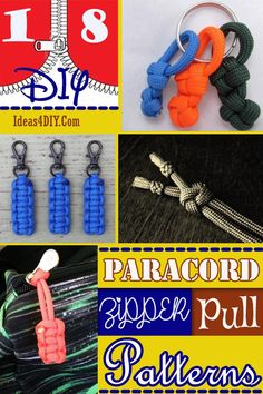 DIY Paracord Zipper Pull Patterns #ParacordZipperPull #ParacordZipperPullPatterns #ParacordProjects #Paracord