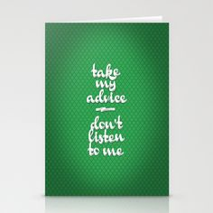 Irony (Green) Stationery Cards by Nameless Shame - $12.00