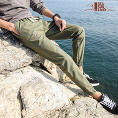 7bcdd05035ed SeaSunLand Mens Cotton Joggers 2017 Brand Male Trousers Men Pants Casual  Solid Pants Sweatpants Jogger Harem Khaki Sweatpants-in Harem Pants from  Men s ...