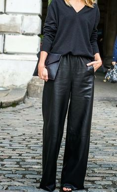 46756b5dd3 all black everything Leather Trousers Outfit