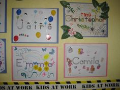 Print each childs name onto cardstock. Send them home for a family project to decorate with crayons, color, glue, glitter, pasta, cereal, stickers, etc. They turn out really nice and make a beautiful bulletin board. My children really got excited to have Homework and were so proud to show their friends how they decorated their names. I really had great family participation for this activity.